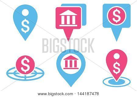 Bank Location vector icons. Pictogram style is bicolor pink and blue flat icons with rounded angles on a white background.