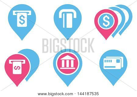 Banking ATM Pointers vector icons. Pictogram style is bicolor pink and blue flat icons with rounded angles on a white background.