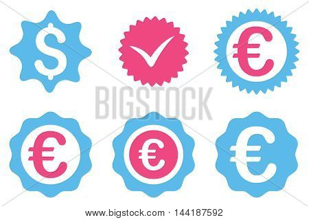 Banking Stamp vector icons. Pictogram style is bicolor pink and blue flat icons with rounded angles on a white background.