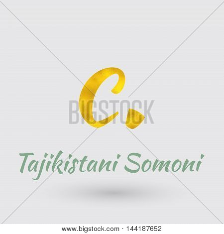 Symbol of the Tajikistan Currency with Golden Texture.Vector EPS 10