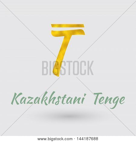 Symbol of the Kazakhstan Currency with Golden Texture.Vector EPS 10