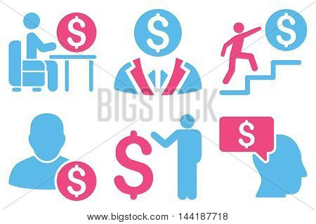 Businessman vector icons. Pictogram style is bicolor pink and blue flat icons with rounded angles on a white background.