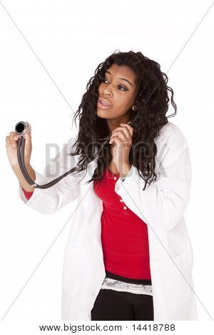 Woman Doctor Holdng Stethoscope Out