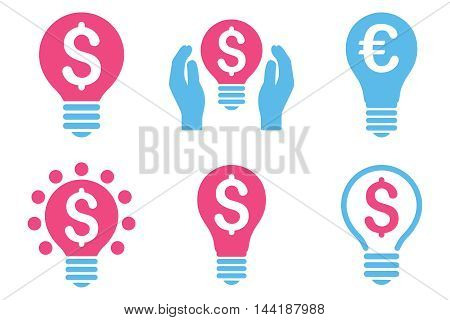 Electric Light Price vector icons. Pictogram style is bicolor pink and blue flat icons with rounded angles on a white background.