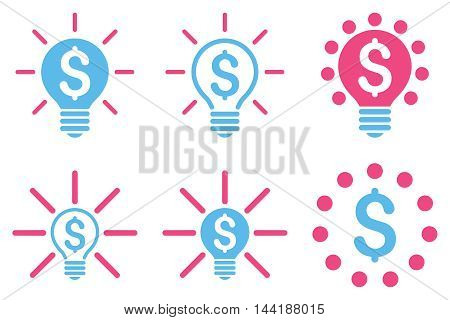 Financial Idea Bulb vector icons. Pictogram style is bicolor pink and blue flat icons with rounded angles on a white background.