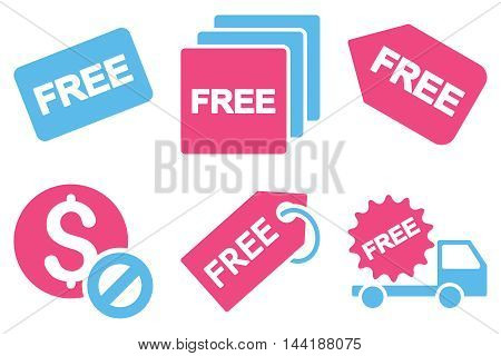 Free Tag vector icons. Pictogram style is bicolor pink and blue flat icons with rounded angles on a white background.