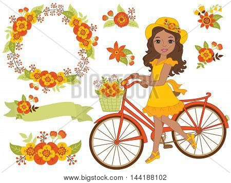 Vector African American girl with bicycle, floral wreath and flowers
