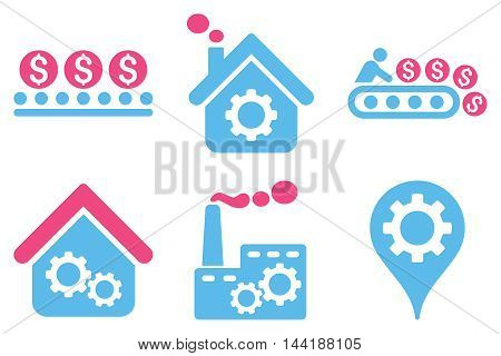 Industrial Production vector icons. Pictogram style is bicolor pink and blue flat icons with rounded angles on a white background.