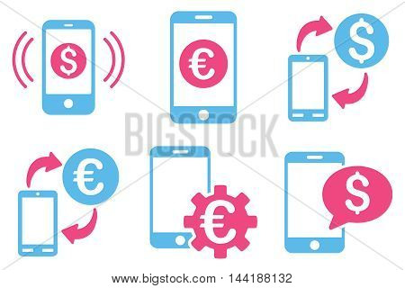 Mobile Banking vector icons. Pictogram style is bicolor pink and blue flat icons with rounded angles on a white background.