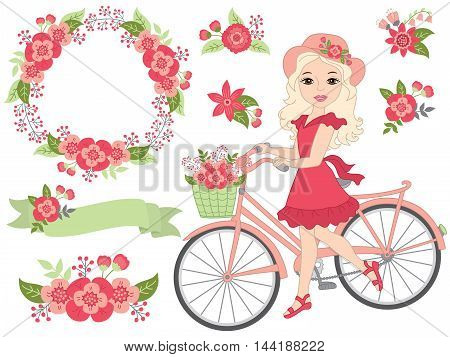 Vector beautiful girl with bicycle, floral wreath and flowers