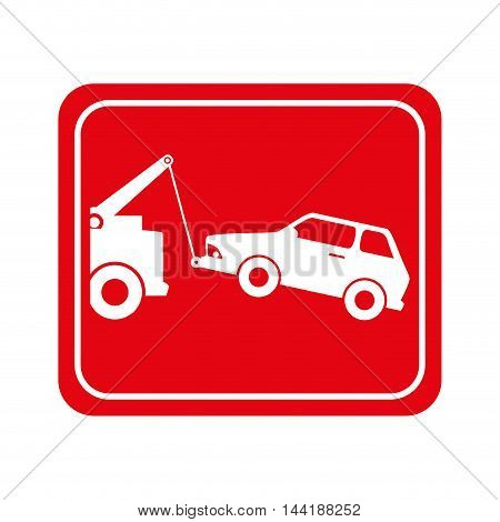 towing car vehicle zone sign symbol vector illustration