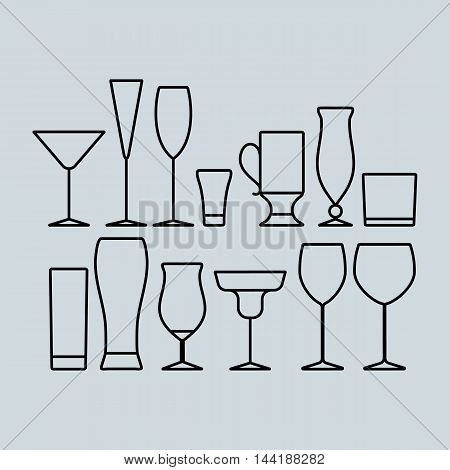 vector icon set of glasses for cocktail