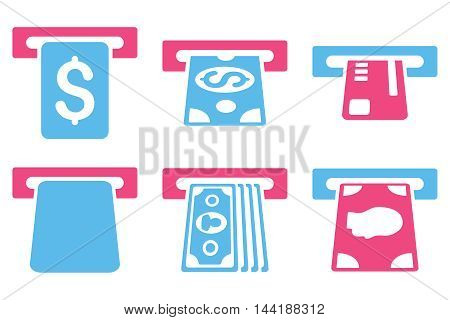 Payment Terminal vector icons. Pictogram style is bicolor pink and blue flat icons with rounded angles on a white background.