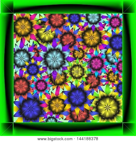 Cards for of sunflowers. Frame neon black and green dice and sunflowers.