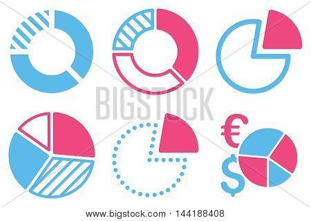 Pie Chart vector icons. Pictogram style is bicolor pink and blue flat icons with rounded angles on a white background.