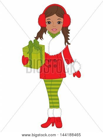 Vector African American Christmas character girl with gift box