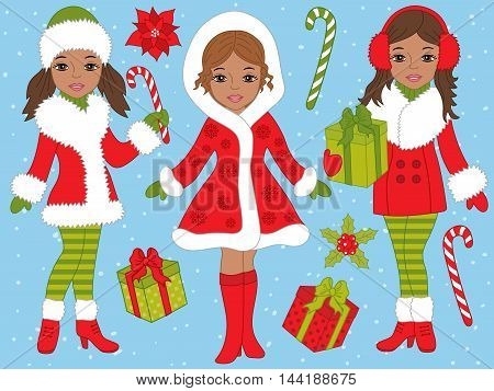 Vector African American Christmas girls set with gift boxes, candy sticks and poinsettia