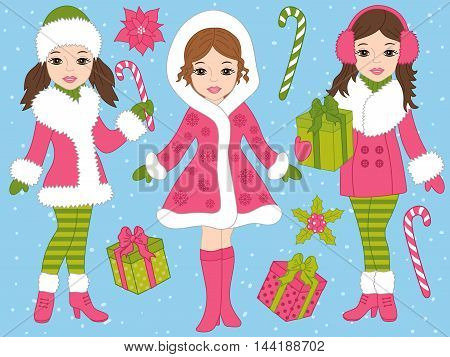 Vector Christmas girls set with candy sticks, gift boxes and poinsettia
