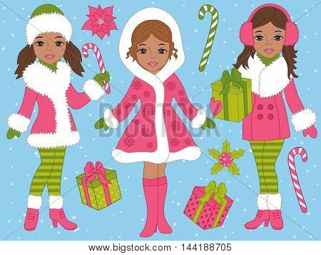 Vector African American Christmas girls set with candy sticks and gift boxes