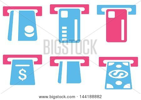 Ticket Terminal vector icons. Pictogram style is bicolor pink and blue flat icons with rounded angles on a white background.