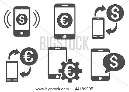 Mobile Banking vector icons. Pictogram style is gray flat icons with rounded angles on a white background.