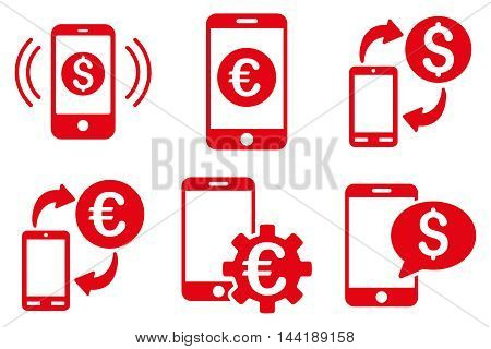 Mobile Banking vector icons. Pictogram style is red flat icons with rounded angles on a white background.