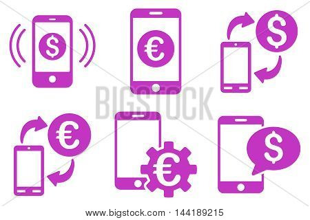 Mobile Banking vector icons. Pictogram style is violet flat icons with rounded angles on a white background.