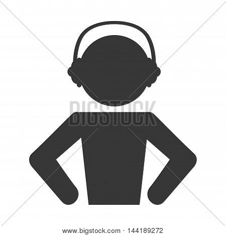 man listening music headphone technology and electronic device vector illustration