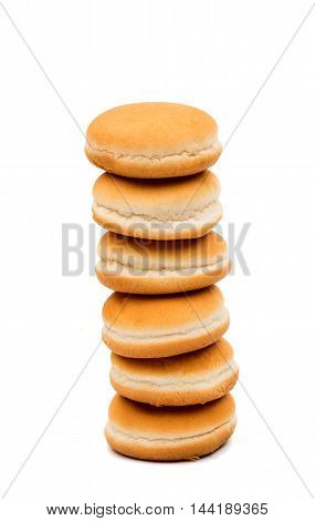 hamburger buns bake on a white background