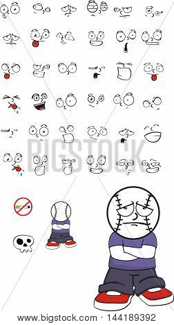 sad baseball kid head expressions cartoon in vector format very easy to edit