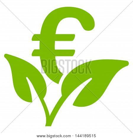 Euro Startup Sprout icon. Vector style is flat iconic symbol with rounded angles, eco green color, white background.