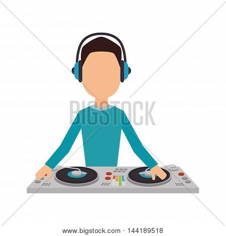 music dj party avatar with turntables profession technology device