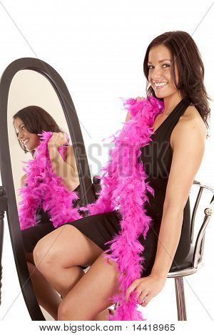 Black Dress Pink Boa Mirror