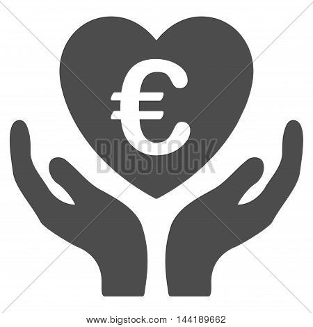 Euro Care Hands icon. Vector style is flat iconic symbol with rounded angles, gray color, white background.