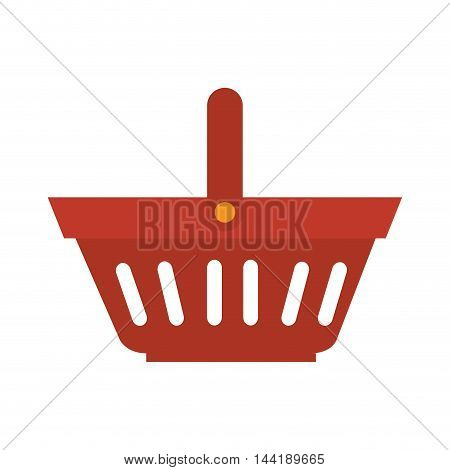 shopping basket with white stripes and handle vector illustration