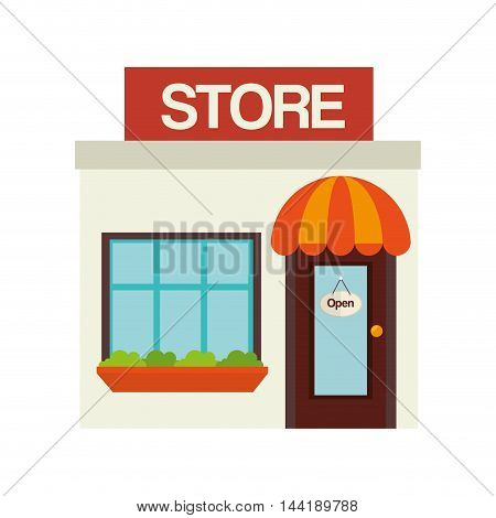 commercial little store building exterior view vector illustration