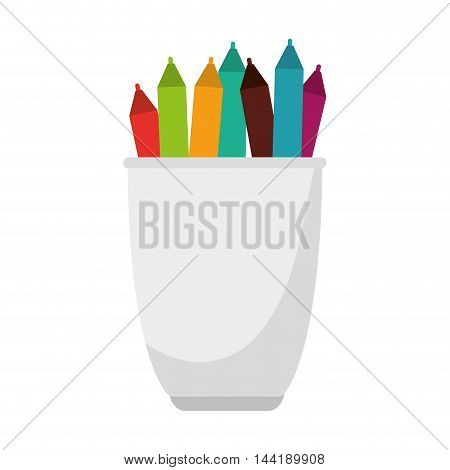 pencil holders cup stationary and office stuff vector illustration