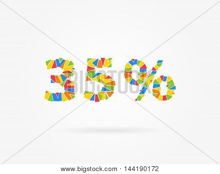 Discount 35 Percent Colorful Vector Illustration