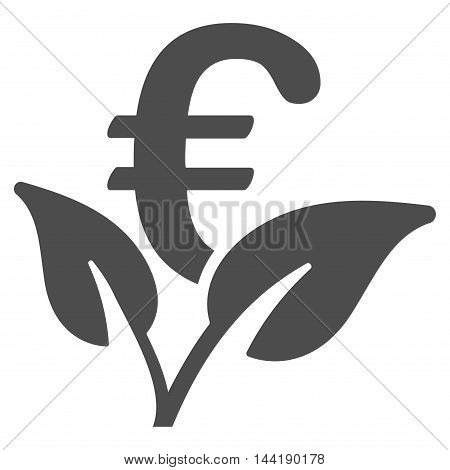 Euro Startup Sprout icon. Vector style is flat iconic symbol with rounded angles, gray color, white background.