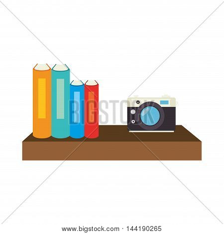book shelf with books and camera decoration furniture elements vector illustration