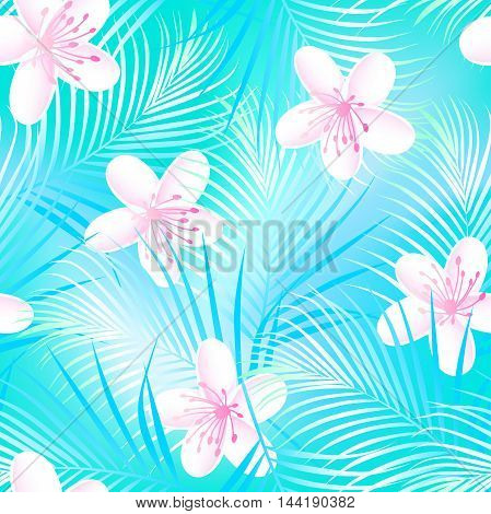 Tropical frangipani hibiscus with blue palms seamless pattern .