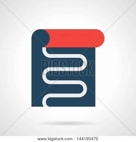 Blue underfloor film with white cord or pipe. Heated floor sample. Contemporary heating technology. Modern style flat colored vector icon.