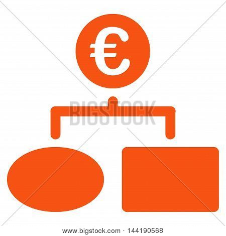 Euro Flow Chart icon. Vector style is flat iconic symbol with rounded angles, orange color, white background.