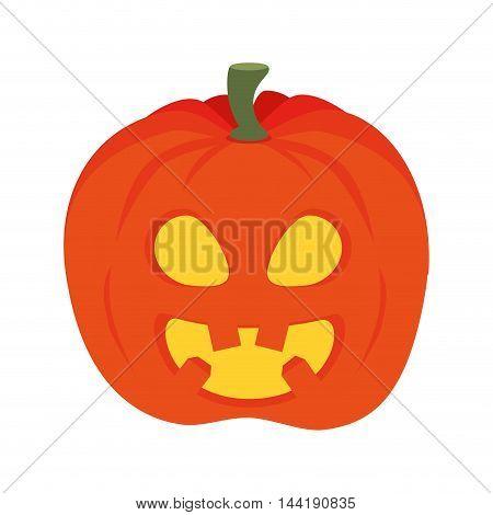 orange pumpkin faces of halloween horror expression vector illustration