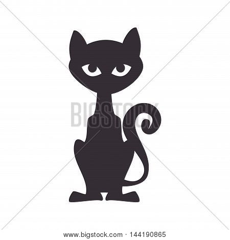 black cat feline halloween icon front view vector illustration