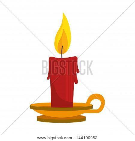 lit candle halloween season decoration party vector illustration