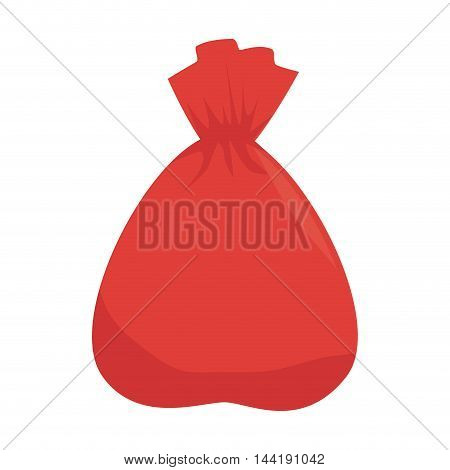 bag red trash garbage sack recycling vector illustration
