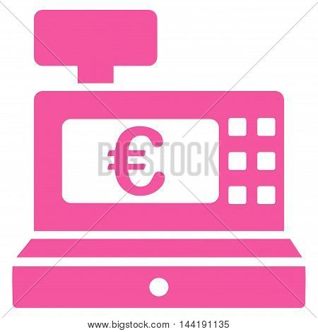 Euro Cashbox icon. Vector style is flat iconic symbol with rounded angles, pink color, white background.
