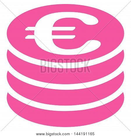 Euro Coin Stack icon. Vector style is flat iconic symbol with rounded angles, pink color, white background.