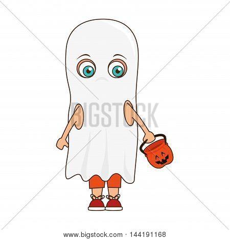 cute kid in a ghost costume halloween season vector illustration